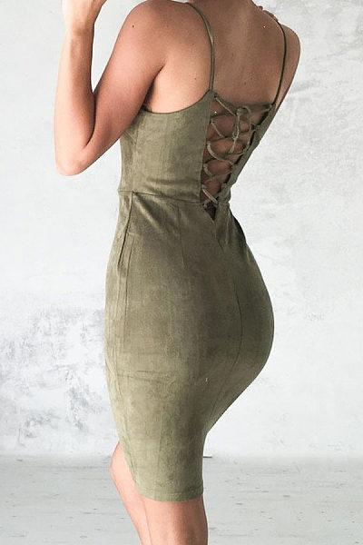 Spaghetti Strap  Backless Cross Straps  Plain  Sleeveless Bodycon Dresses