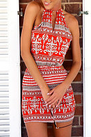 Halter  Cross Straps  Back Hole  Print  Sleeveless Bodycon Dresses