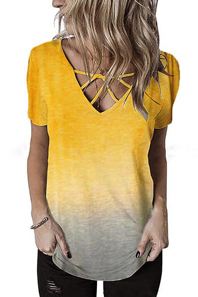 Casual V-Neck Cross Rainbow Gradient Print Short-Sleeved T-Shirt
