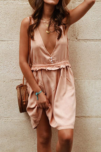 Deep V Neck  Decorative Buttons  Plain  Casual Dresses