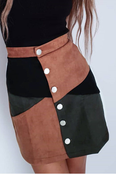 Single Breasted  Patchwork Skirts