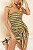 Spaghetti Strap  Backless  Striped  Sleeveless Bodycon Dresses
