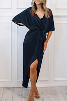 Deep V Neck  Belt  Plain  Half Sleeve Maxi Dresses