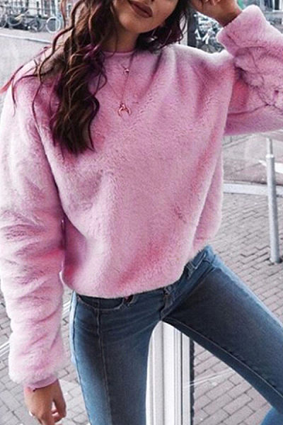 Round Neck  Loose Fitting  Plain  Sweatshirts
