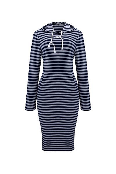 Hooded Drawstring Kangaroo Pocket Striped Bodycon Dress