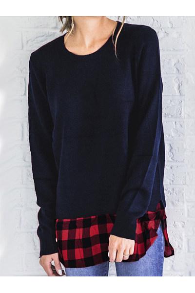 Autumn Winter  Cotton Blend  Women  Round Neck  Patchwork  Plaid Long Sleeve T-Shirts