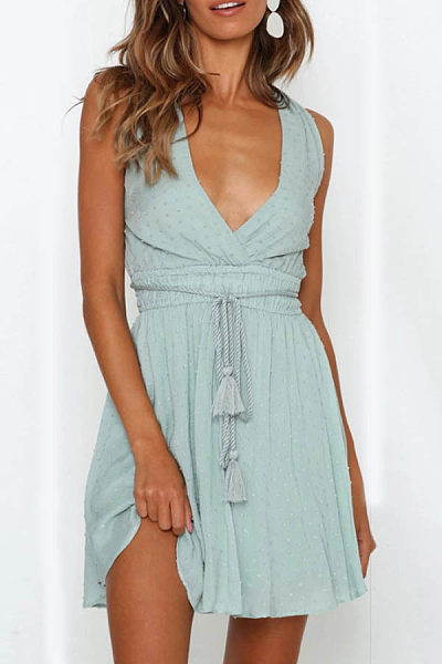 Sexy V-Neck Open Back Straps   High Waist Slim Strap Dress