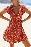 Fashion Waist Short Sleeve   Printed Mini Dress