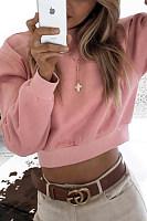 High  Neck  Plain   Sweatshirts