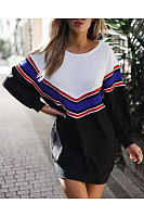 Round Neck  Patchwork  Striped  Sweatshirts