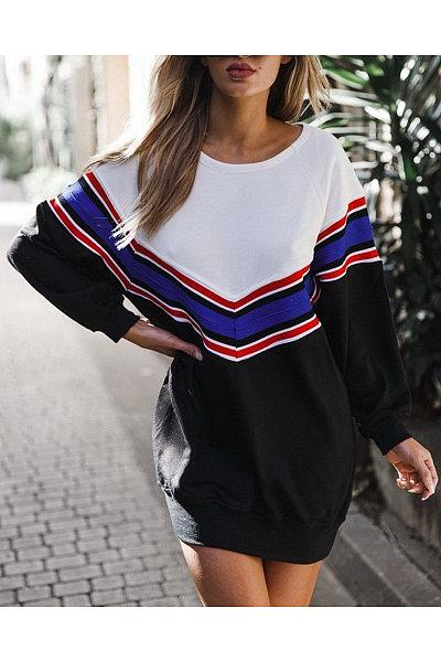 Round Neck  Patchwork  Striped  Sweatshirts