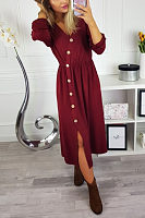 V Neck  Single Breasted  Plain  Long Sleeve Maxi Dresses
