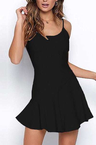 Strap Patchwork Plain Bodycon Dress