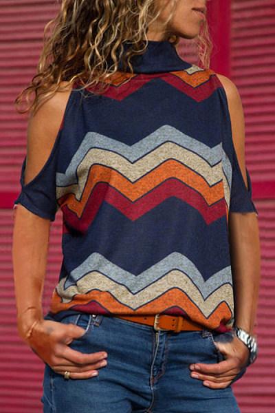 Band Collar  Cutout  Stripes T-Shirts