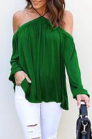 Halter Open Shoulder  Plain T-Shirts