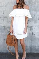 Off Shoulder  Backless  Cascading Ruffles  Plain  Short Sleeve Casual Dresses