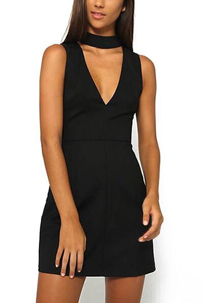 4e7064e0de Black V-neck Sleeveless Simple Mini Dress - cicilookshop.com