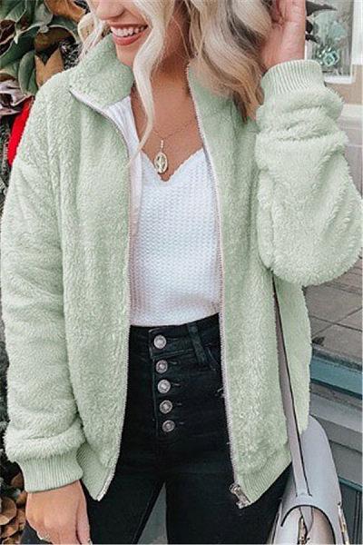 Casual Pure Color Small Lapel Zipper Outerwear
