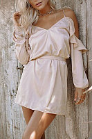 Spaghetti Strap  Belt  Plain  Long Sleeve Casual Dresses