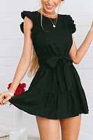 Crew Neck  Belt  Plain  Sleeveless Skater Dresses
