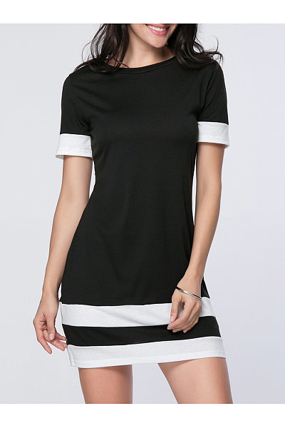Round Neck Trendy Color Block Striped  Bodycon Dress