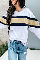 Round Neck Color Matching Loose Shoulder Sleeve Sweater