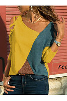 Open Shoulder  See-Through  Contrast Stitching  Color Block Long Sleeve T-Shirts