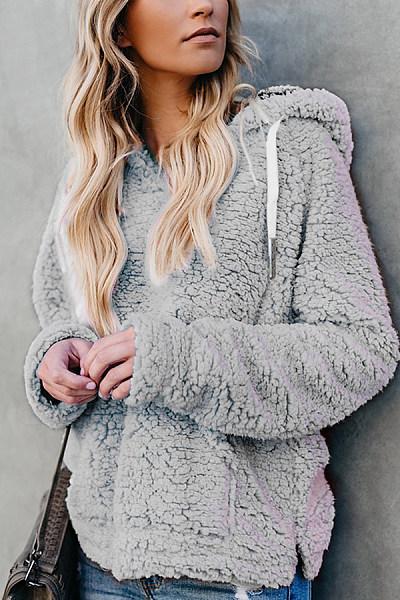 Hooded  Drawstring  Plain Teddy  Outerwear