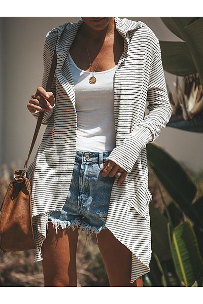 Hooded  Asymmetric Hem  Striped Cardigans