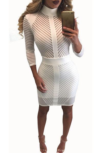 White Bodycon See-Through High Neck Tulle Stripe Design Party Dress