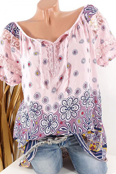 Round  Neck  Patchwork  Elegant  Printed  Short Sleeve  Blouses