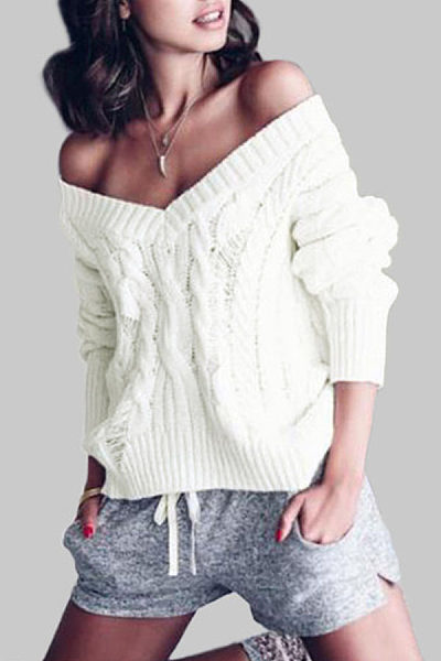 V Neck  Hollow Out Sweaters