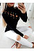 Turtle Neck Sexy Hollow Out Lace Up Long Sleeve T-Shirts