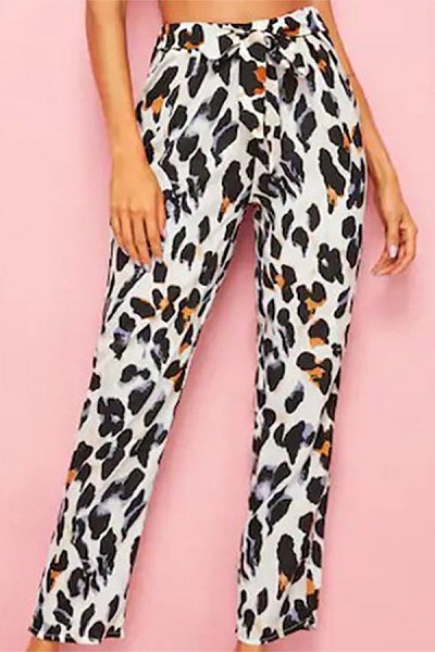 Casual Elastic Waist Leopard Printed Colour Trousers