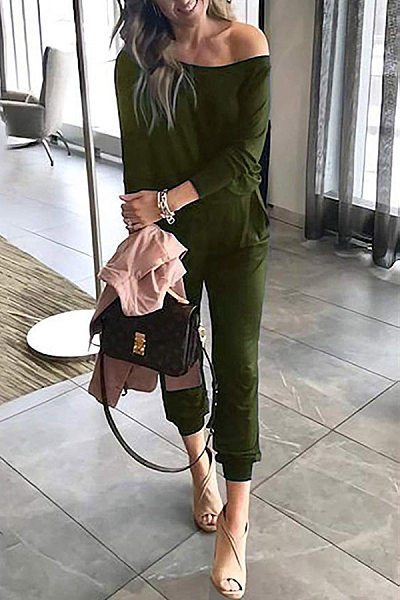 Casual Pure Color Word Collar Jumpsuits