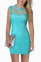 Crew Neck Cutout Plain Fitted Bodycon Dress
