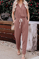 V Neck Plain Basic Jumpsuits