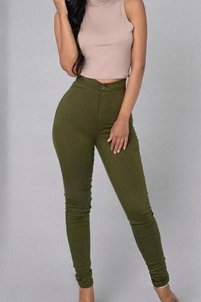 Long Sheath Denim Plain  Basic Jeans