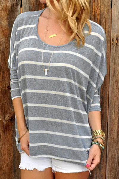 Round Neck  Batwing  Striped T-Shirts