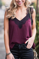 V Neck  Lace Plain Camis