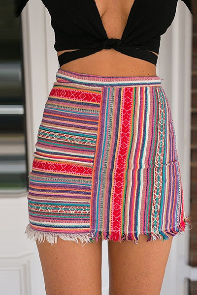 Blend   Beach  Summer Striped Skirts