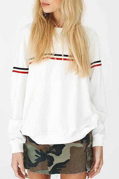 Round Neck  Contrast Stitching Sweatshirts