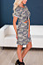 Round Neck  Cutout  Camouflage  Roll Up Sleeve  Short Sleeve Casual Dresses