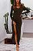 Round Neck  High Slit Single Breasted  Plain  Long Sleeve Maxi Dresses