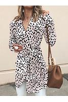 Asymmetric Neck  Lace Up Patchwork  Belt Belt Loops  Leopard Printed Outerwear
