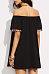 Off Shoulder  Fringe  Patchwork Casual Dresses