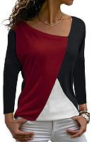 Irregular Collar  Patchwork  Casual  Color Block  Long Sleeve  T-Shirts