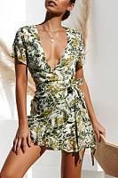 Deep V Neck  Printed  Short Sleeve Bodycon Dresses