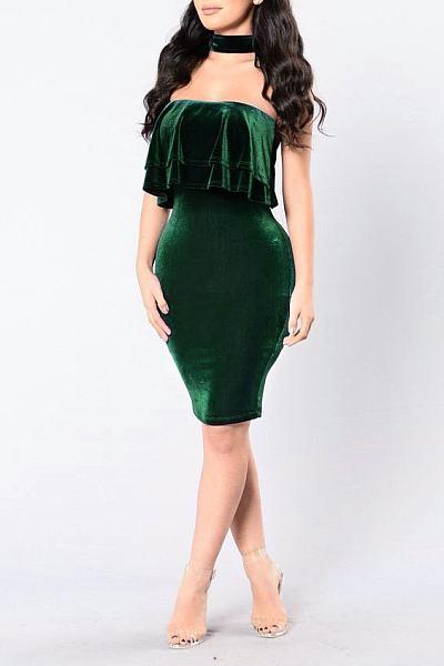 Velvet Halter Flounce Plain Bodycon Dress