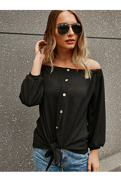 One-Neck Hem Knotted T-Shirt